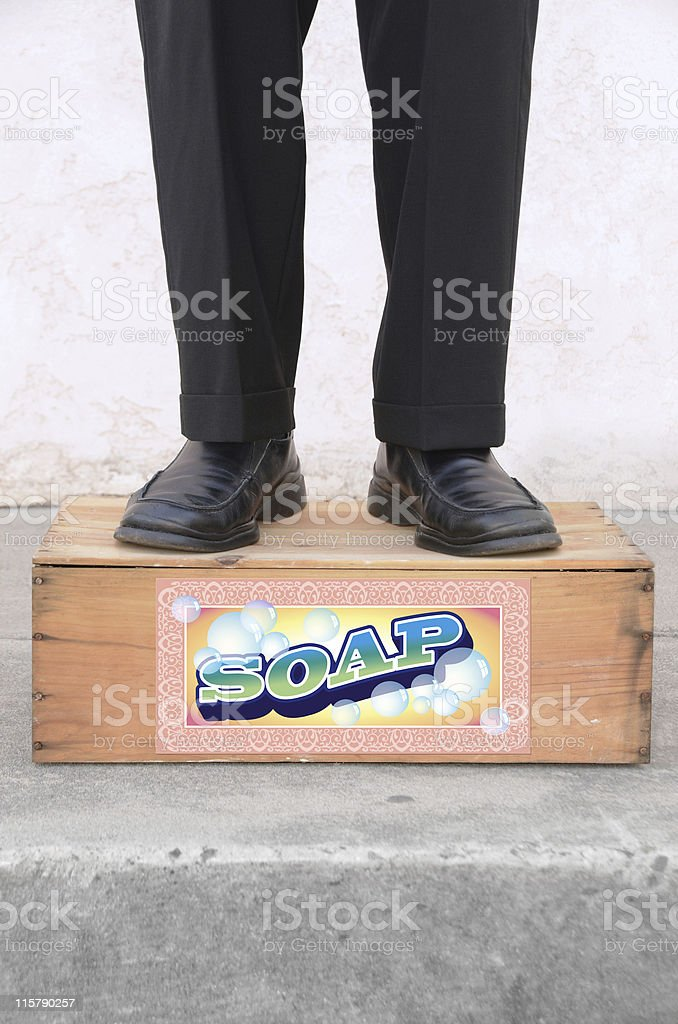 Standing on a Soap Box stock photo