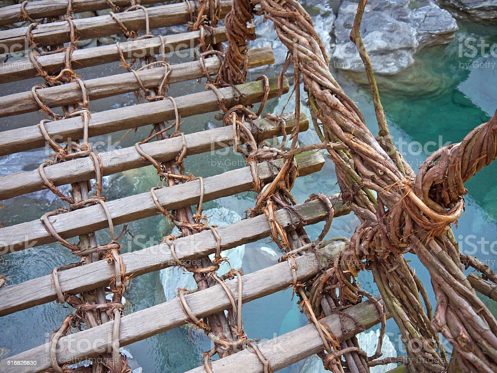 Standing on rope bridge stock photo
