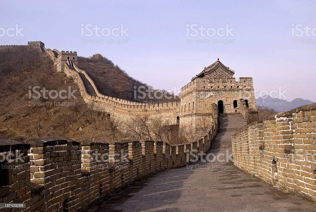 Standing on the Great Wall Of China stock photo