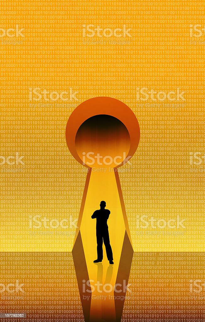 Standing on the Keyhole royalty-free stock vector art