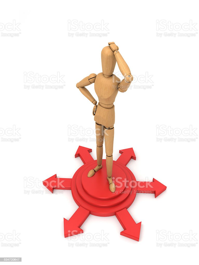 Standing on the shear head puzzled 45 stock photo