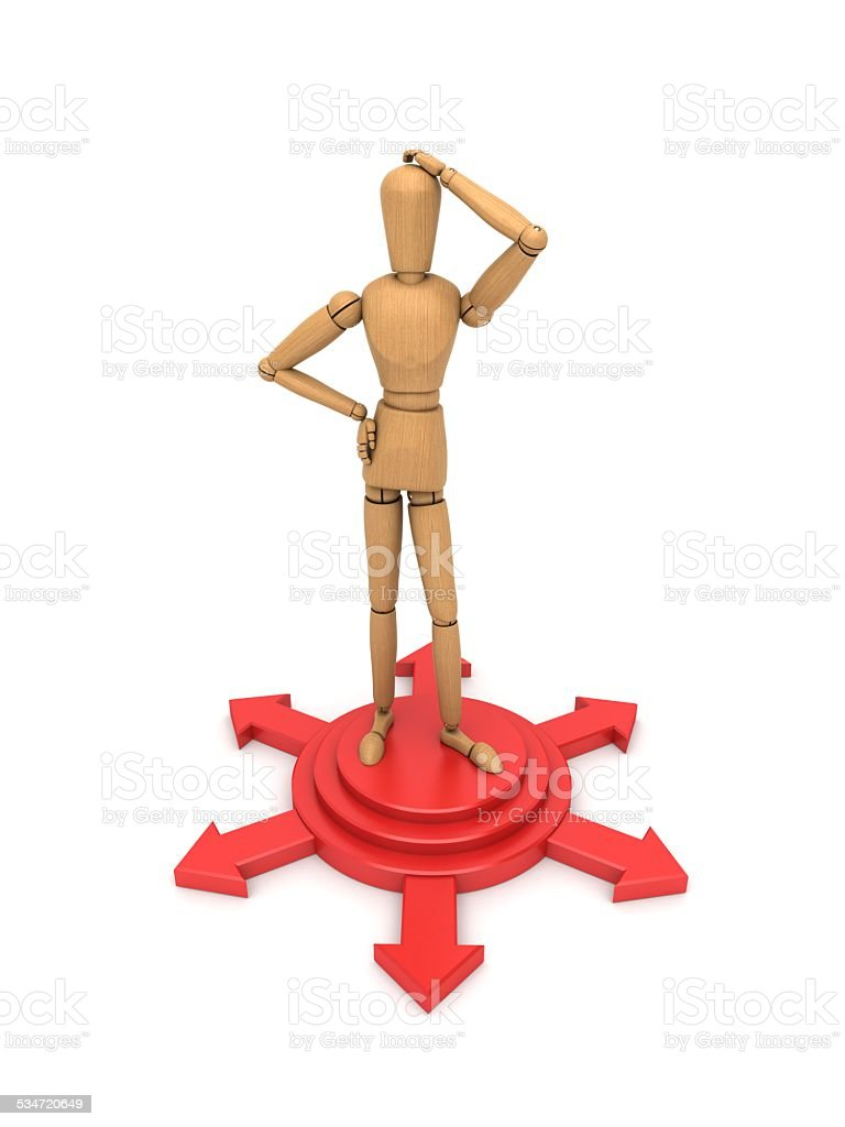 Standing on the shear head puzzled people font stock photo