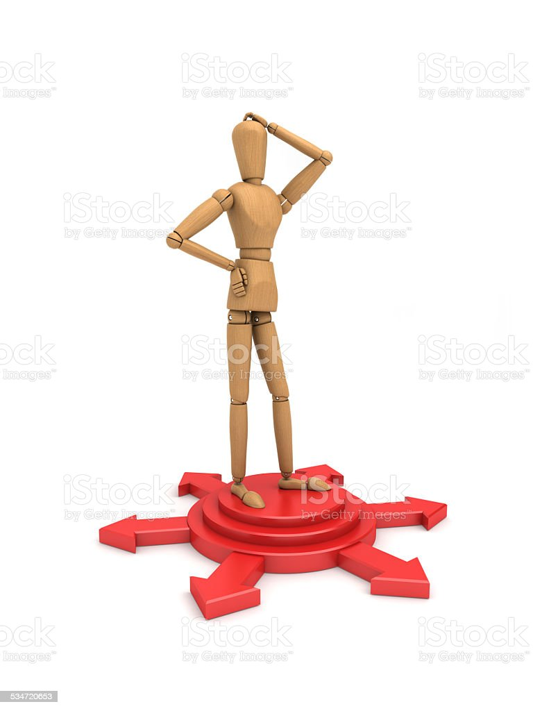 Standing on the shear head puzzled side stock photo