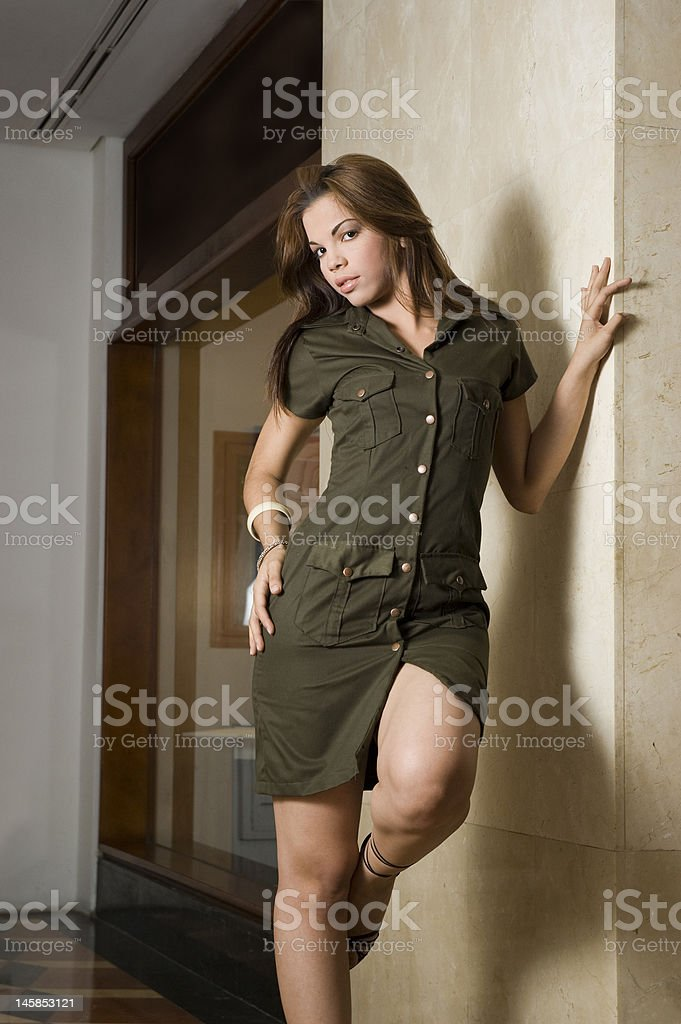 Standing on the wall royalty-free stock photo