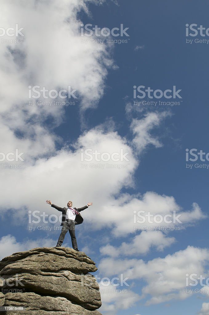 Standing on Top of the Rock royalty-free stock photo