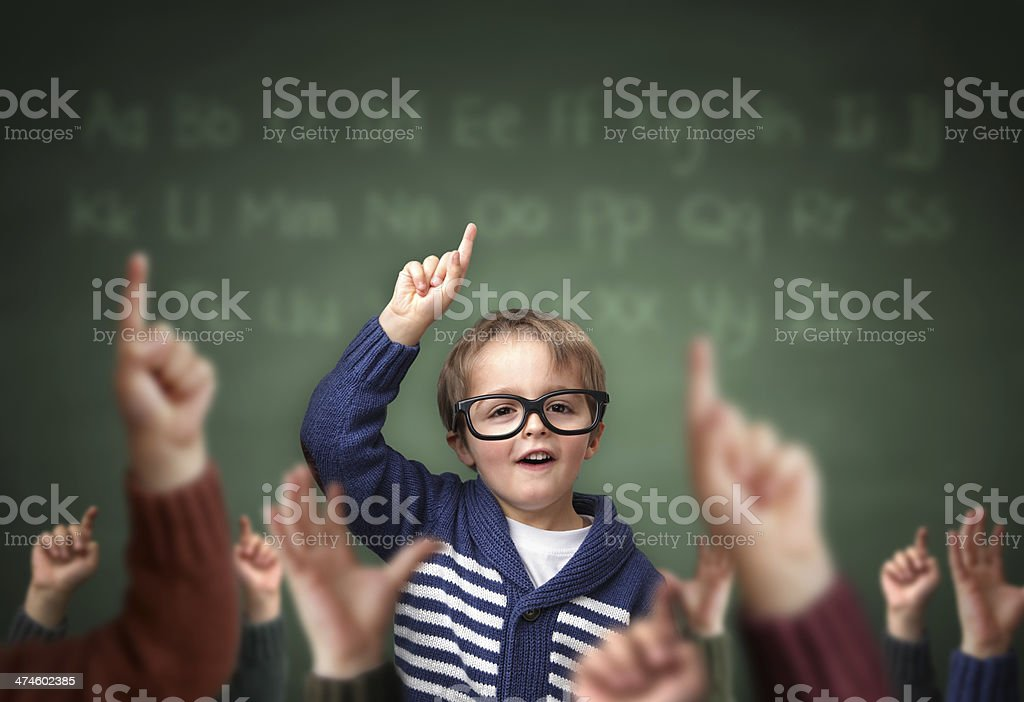 Standing out from the crowd at school stock photo