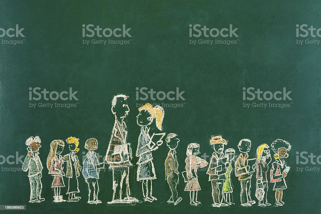 Standing out from the Crowd Drawing royalty-free stock photo