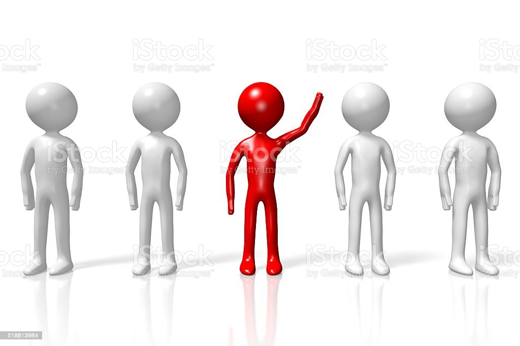 3D standing out of the crowd concept stock photo