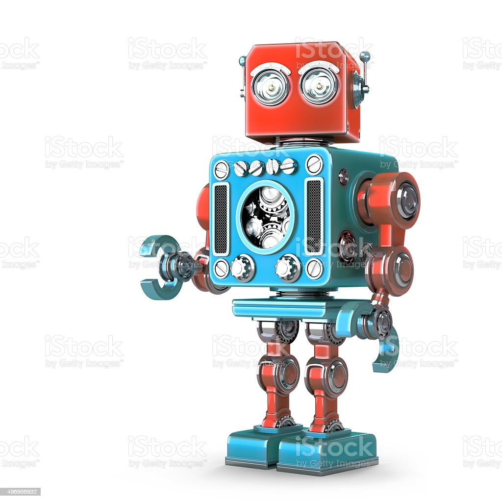 Standing Retro Robot. Isolated. Contains clipping path stock photo