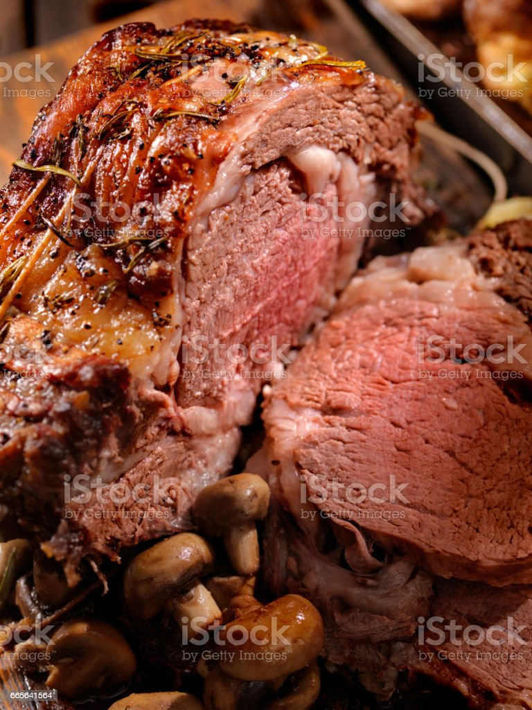 Standing Rib Roast with lots of Marbling stock photo