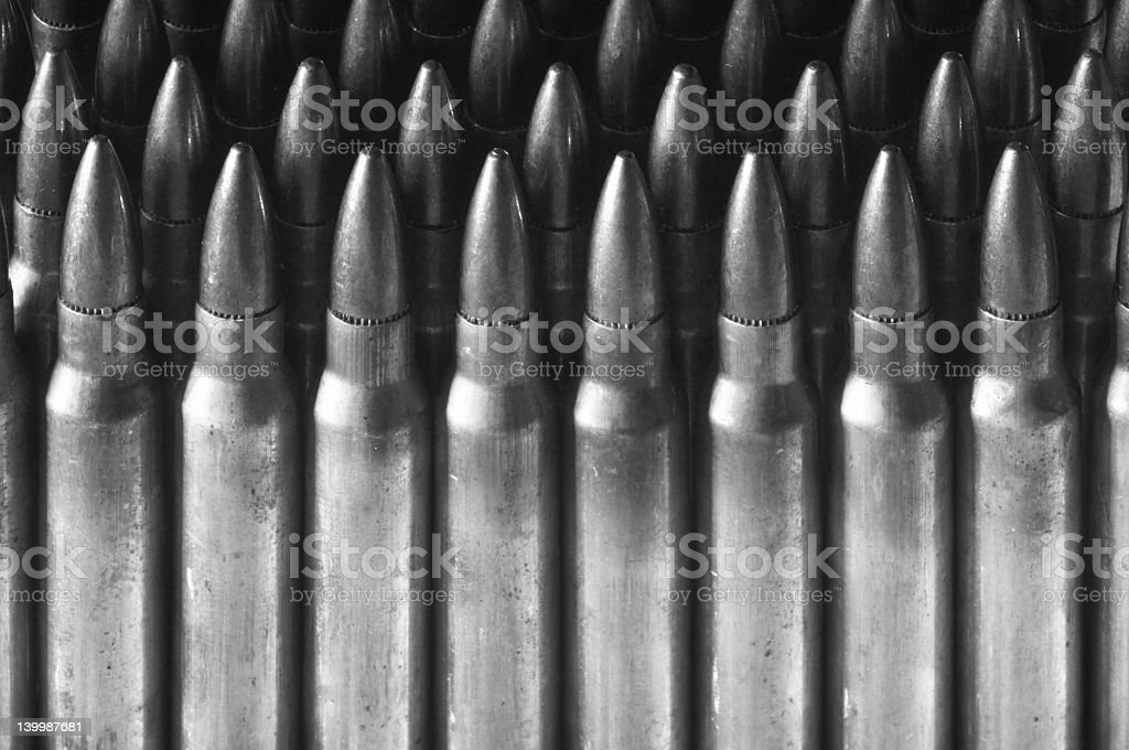 Standing rifle cartridges. Monochrome. stock photo