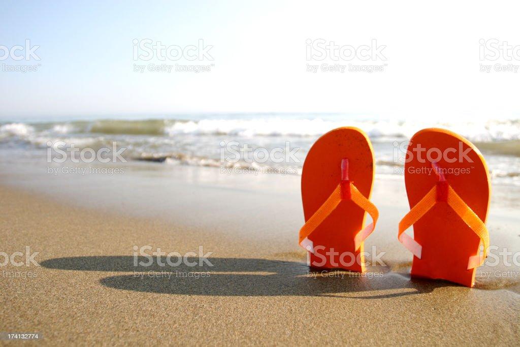 Standing sandals stock photo