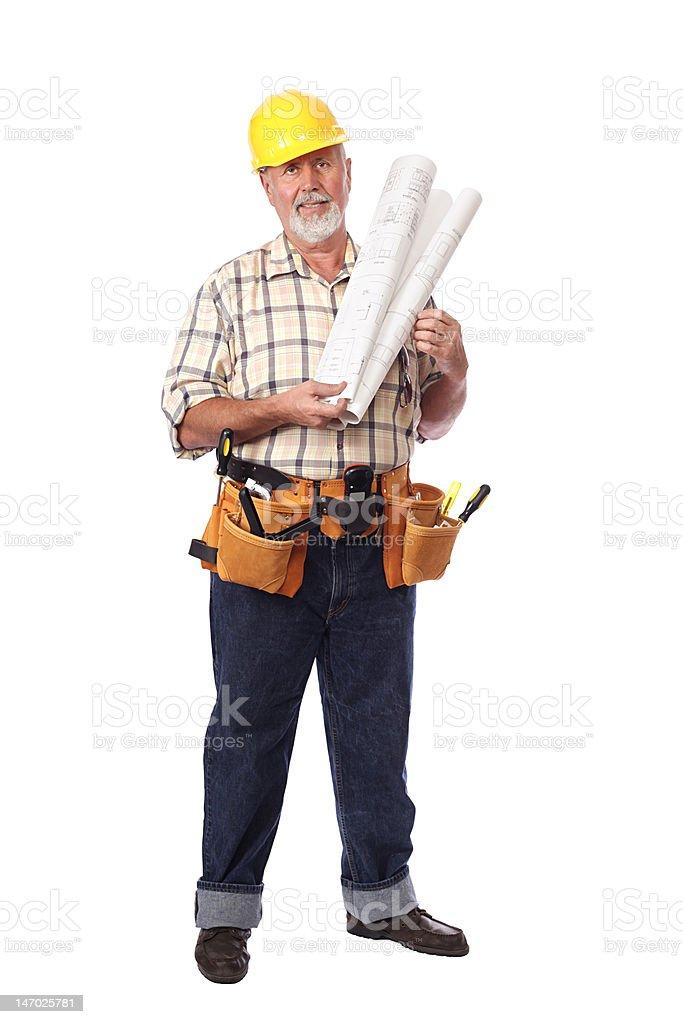 Standing senior worker royalty-free stock photo