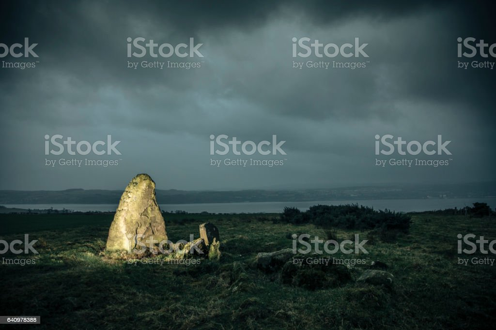 Standing Stones During a Winter Storm stock photo