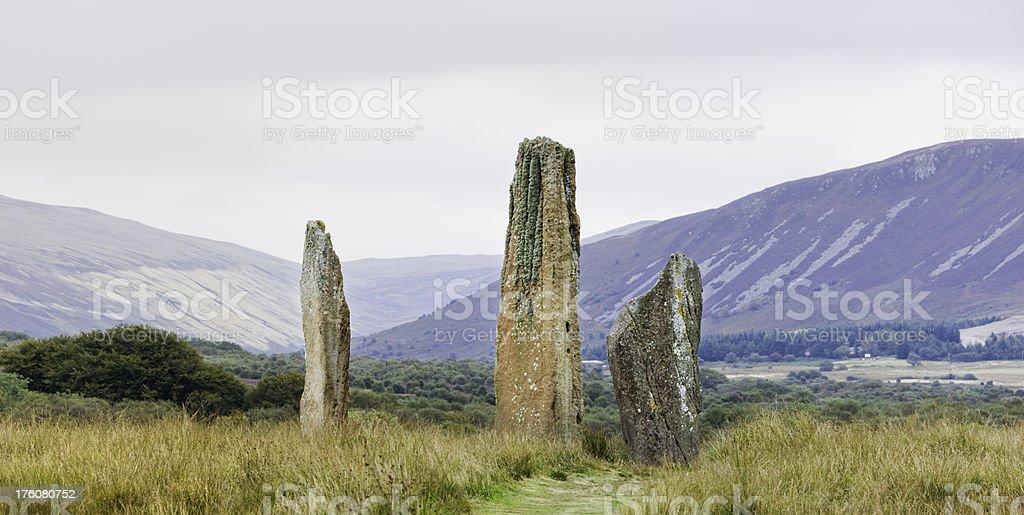 Standing Stones On Machrie Moor, Arran stock photo