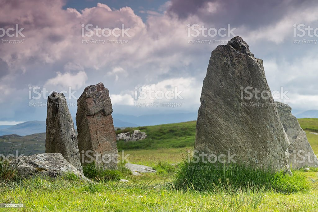 Standing stones Outer Hebrides stock photo