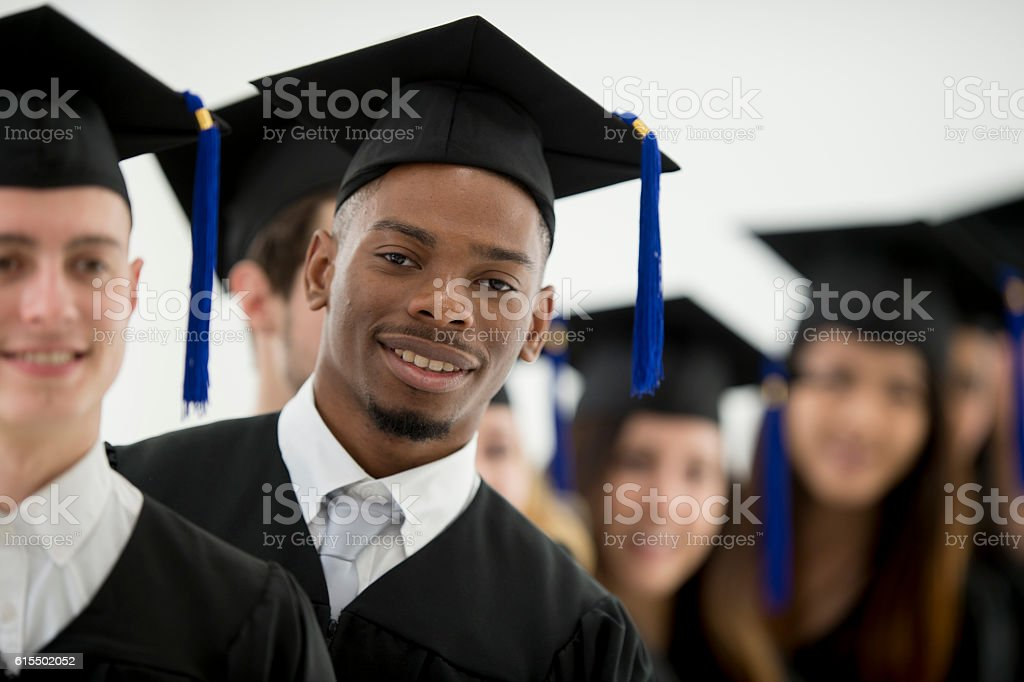Standing Together Before Graduation stock photo