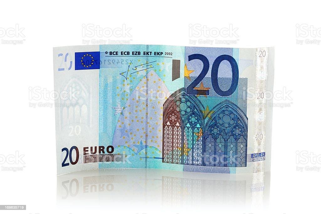 Standing twenty euro Euro banknote with reflection stock photo