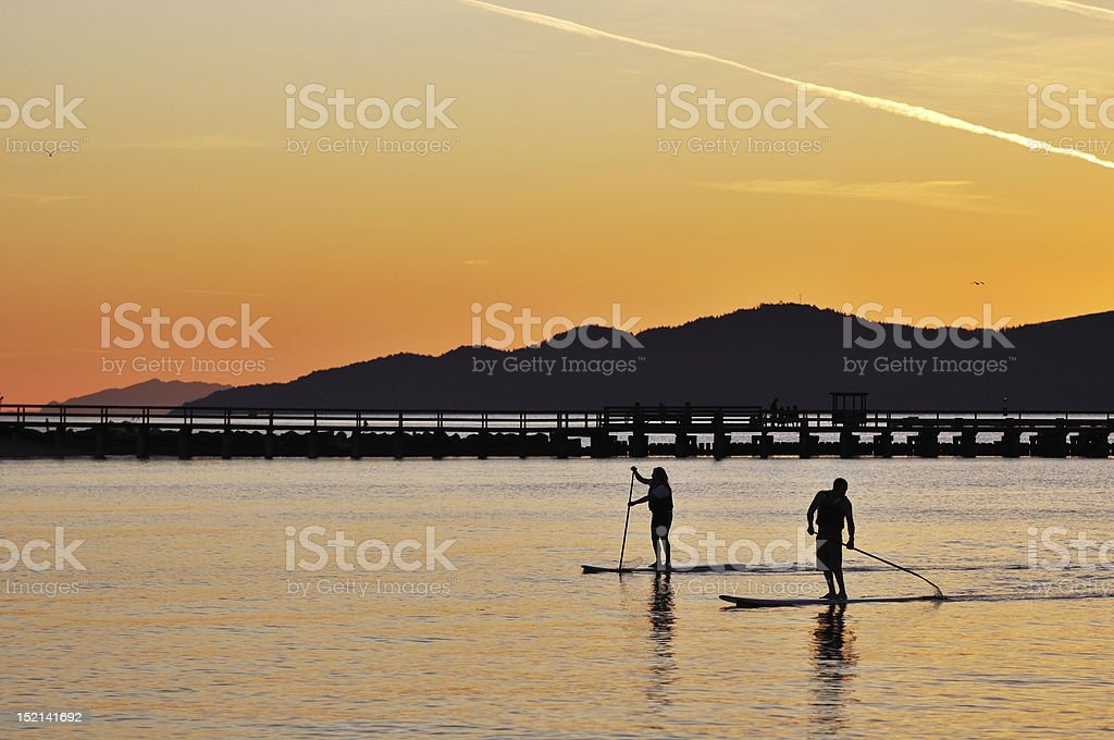 Standing up paddling in English Bay royalty-free stock photo