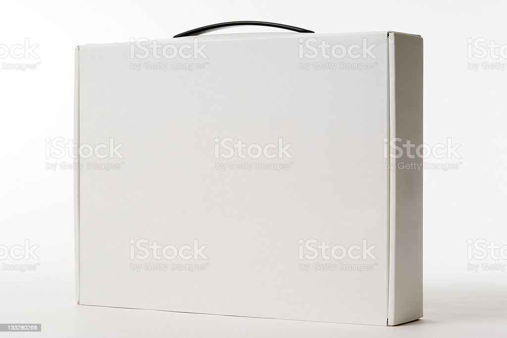Standing white blank box with handle on white background stock photo