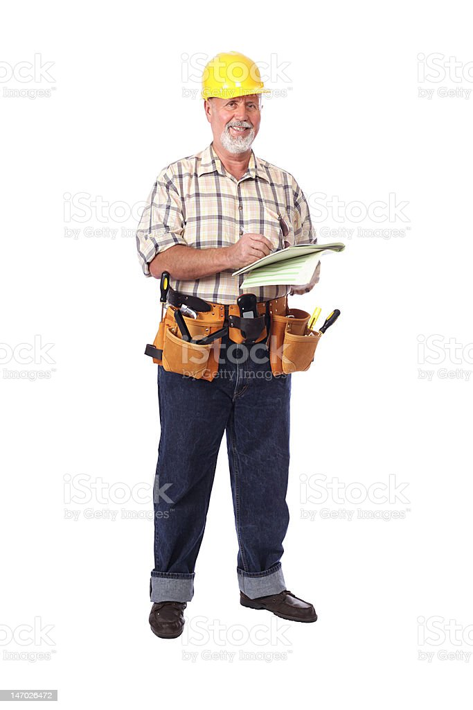 Standing worker writing royalty-free stock photo