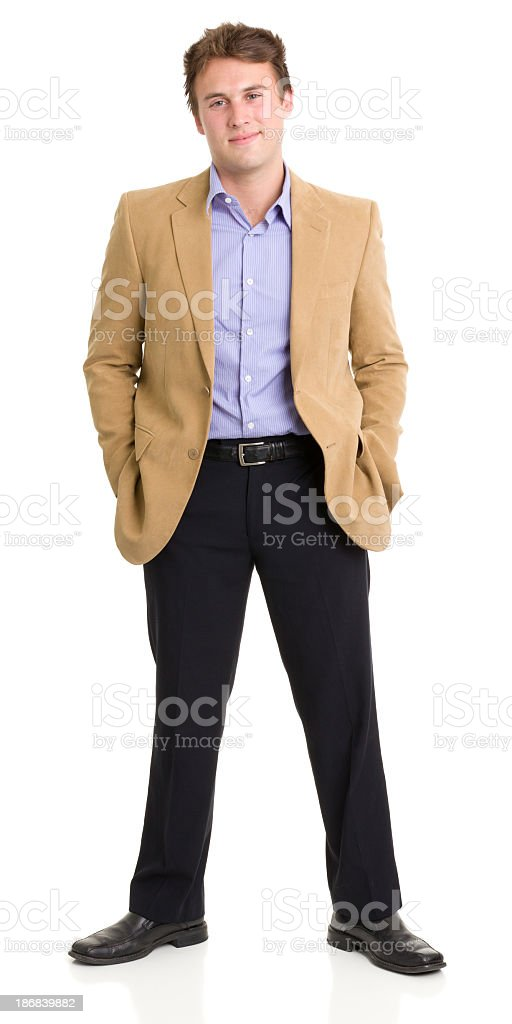 Standing Young Man Smirking stock photo