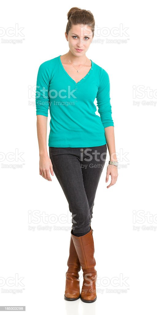 Standing Young Woman Looking At Camera royalty-free stock photo