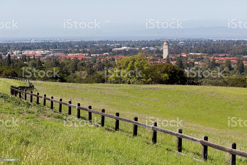 Stanford University, Hoover Tower, Palo Alto and the South Bay stock photo