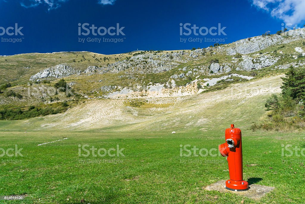 Stange Place for a fire hydrant stock photo