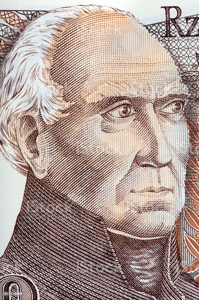 Stanislaw Staszic portrait from old fifty thousand zloty stock photo