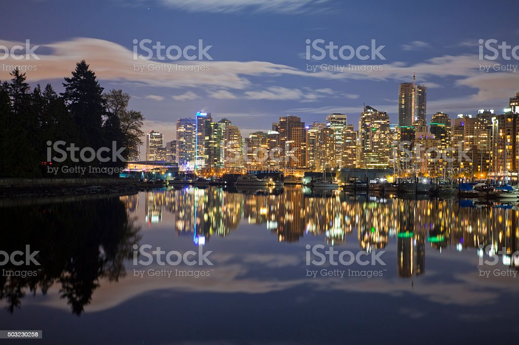 Stanley Park at Night stock photo