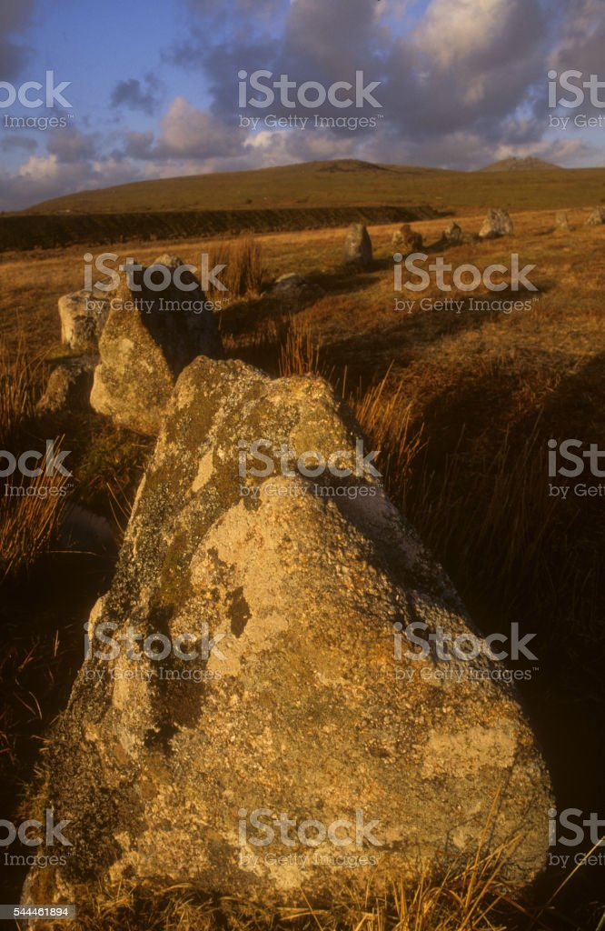 Stannon Stone Circle and Rough Tor stock photo