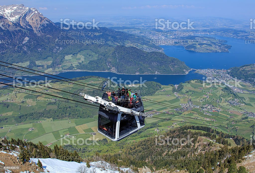 Stanserhorn Cabrio cable car stock photo