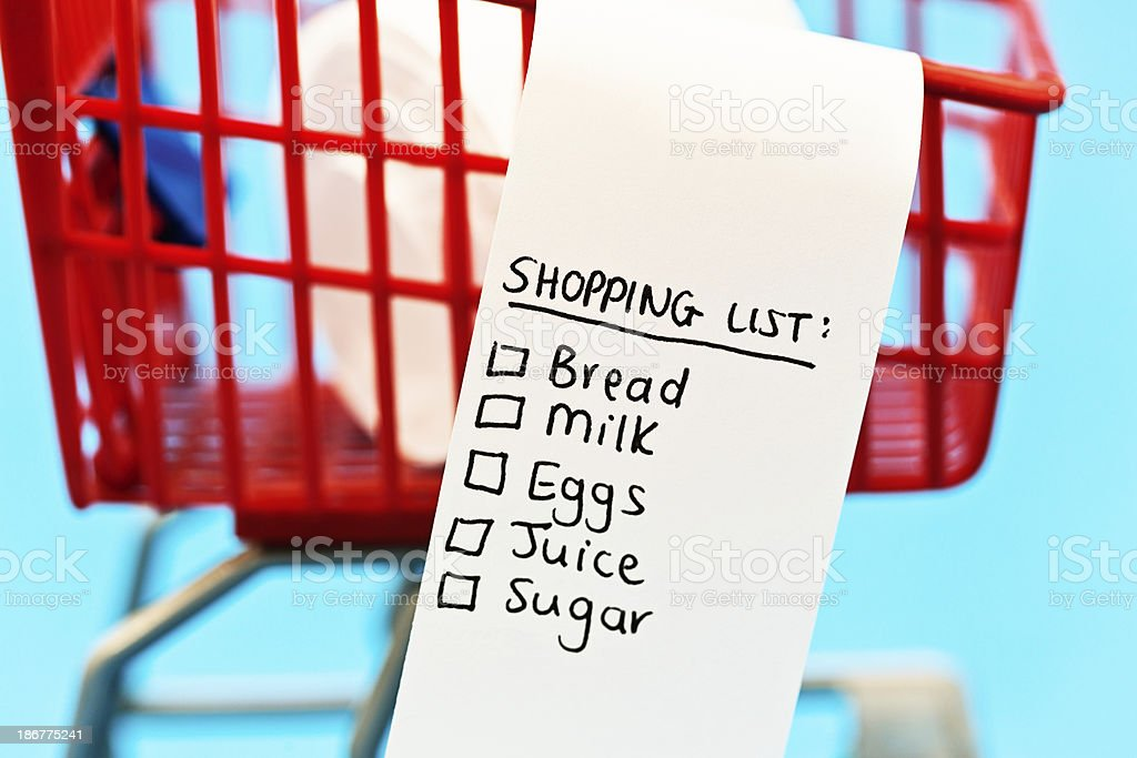 Staple food shopping list in tiny trolley royalty-free stock photo