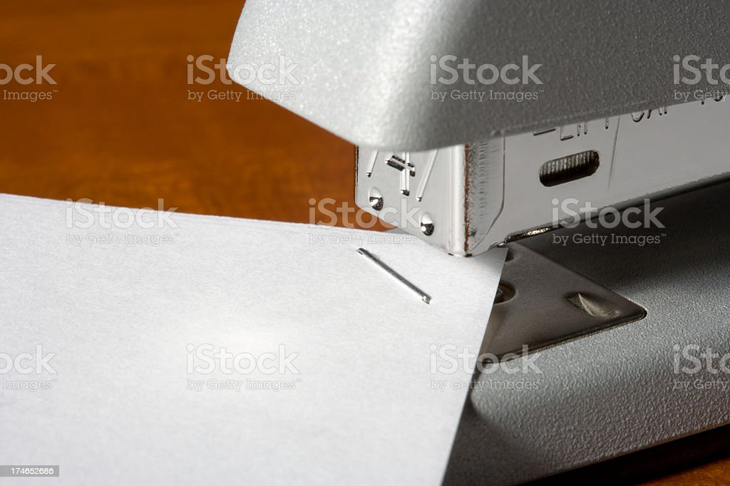 Stapler - Close-Up with Paper stock photo