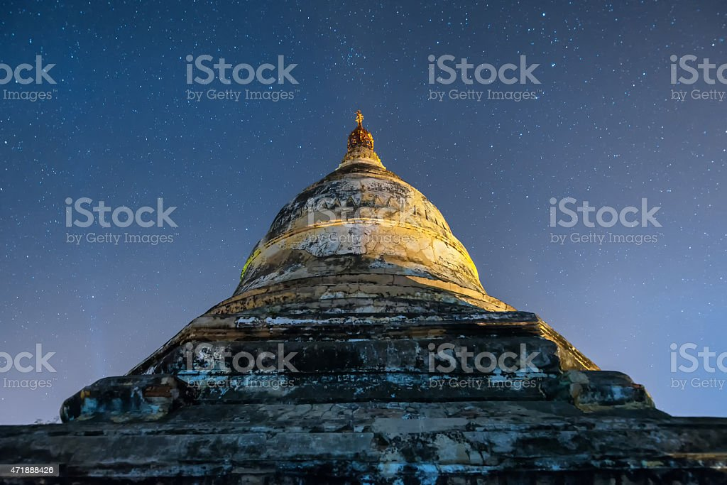 star above ancient pagoda stock photo
