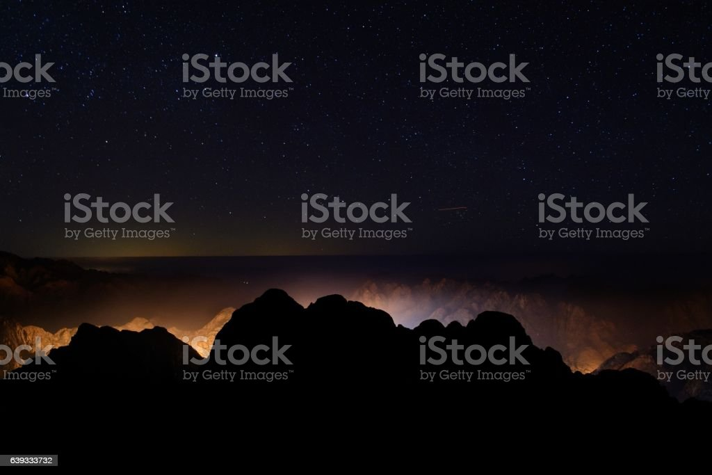Star Above Saint Catherine Mountain stock photo