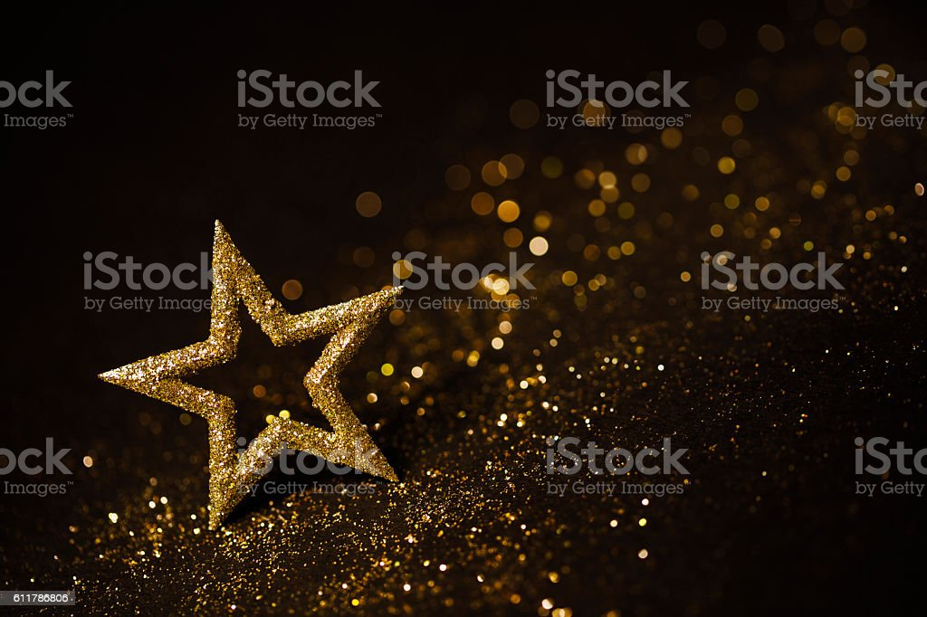 Star Abstract Decoration Lights, Gold Sparkles, Blurred Shine Background stock photo