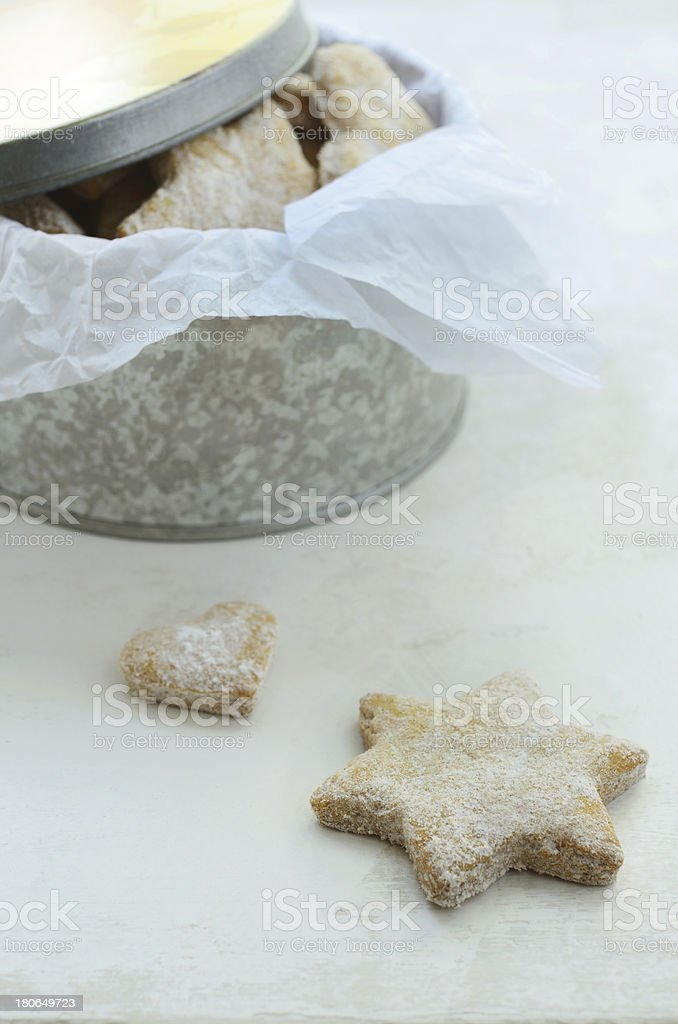 Star and heart shaped homemade ginger cookies royalty-free stock photo