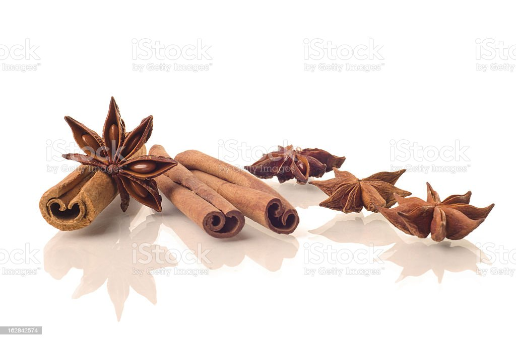 Star anise and cinnamon beer ingredients stock photo