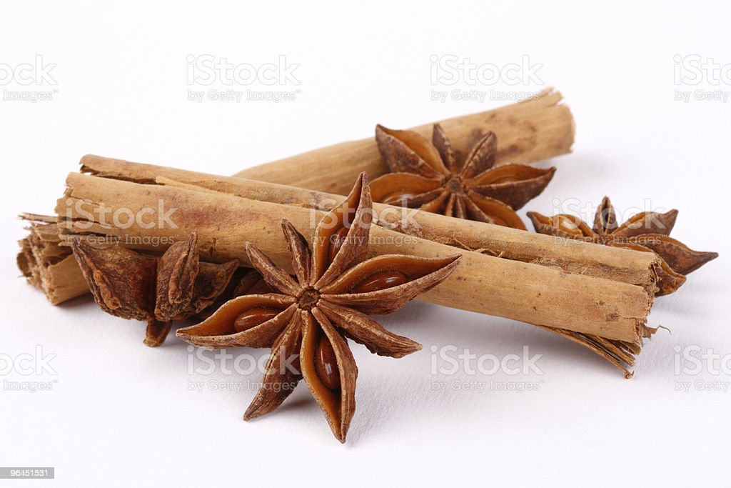 Star anise and Cinnamon on white royalty-free stock photo