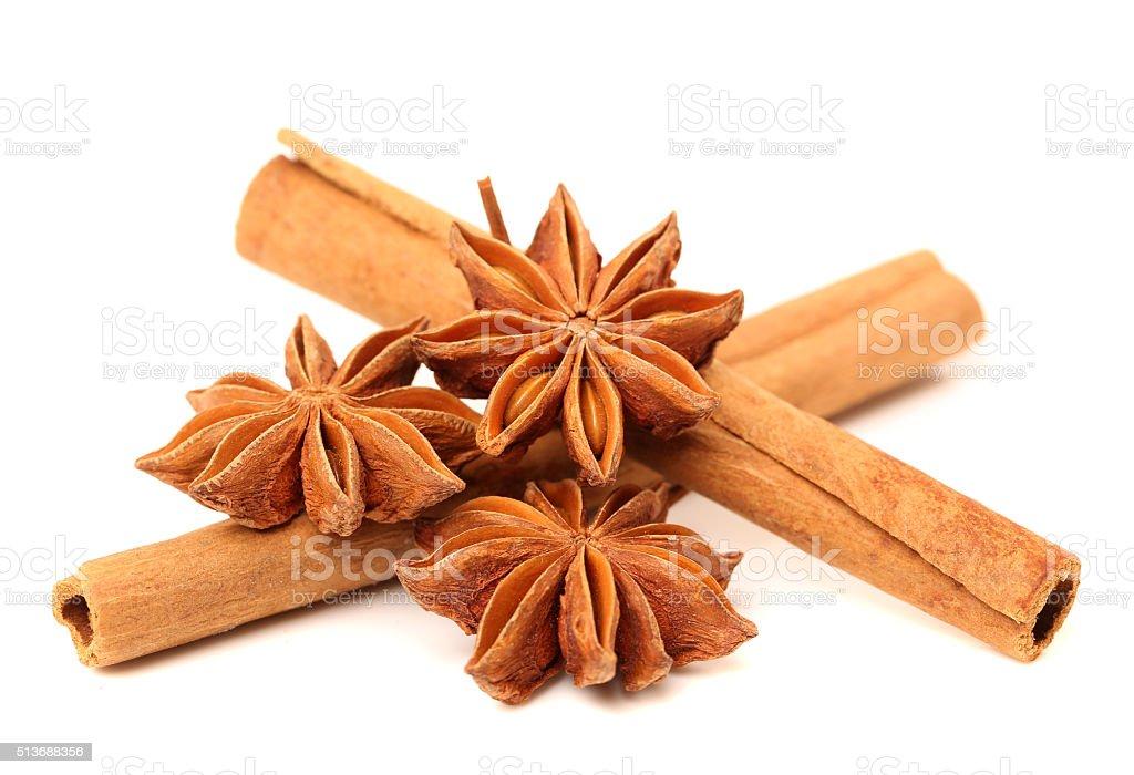 Star anise and cinnamon stock photo