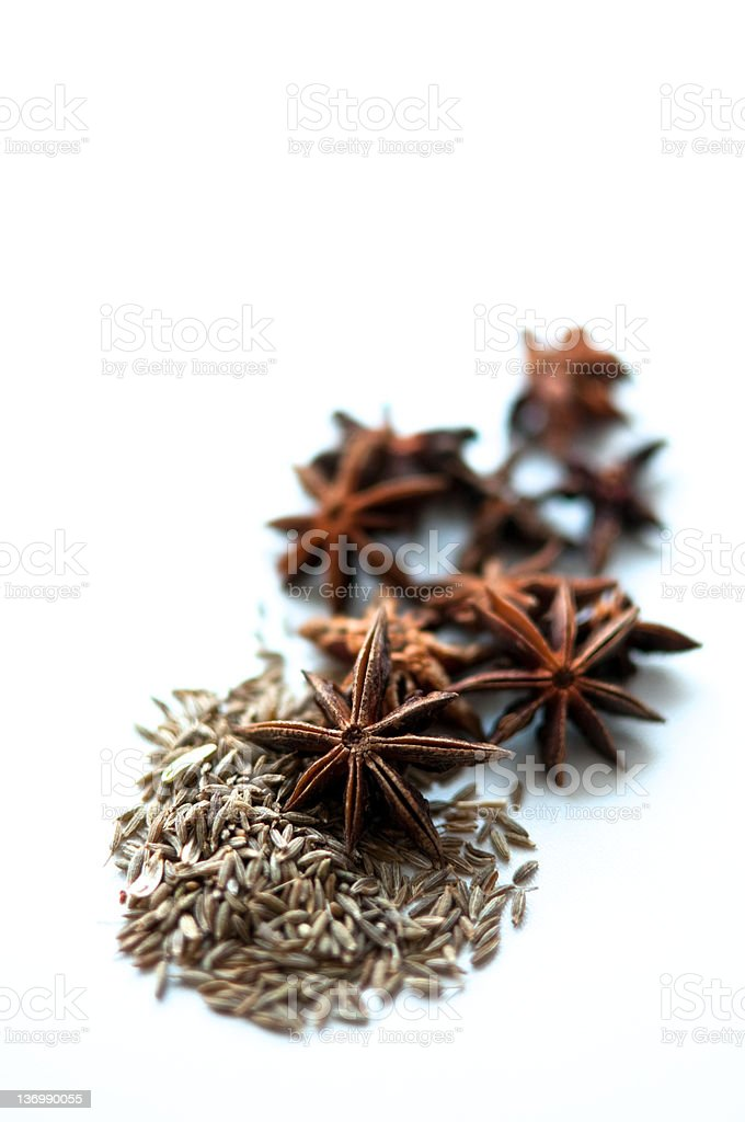 Star anise and cumin seed royalty-free stock photo
