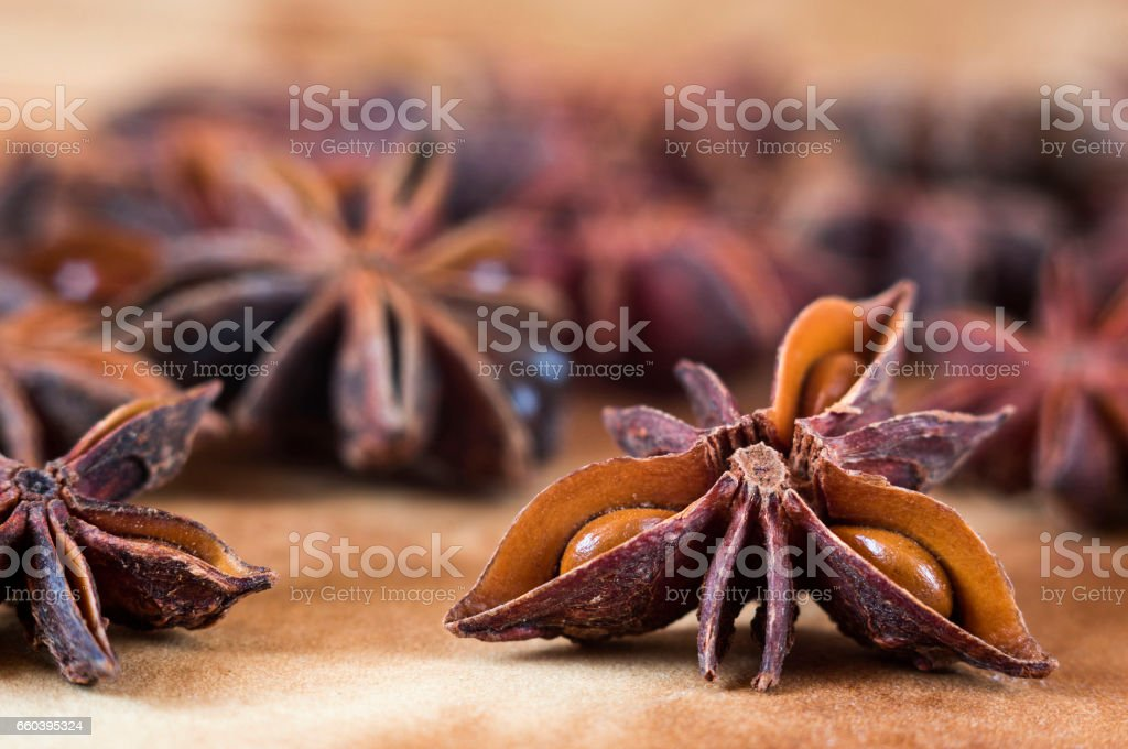 Star anise background stock photo