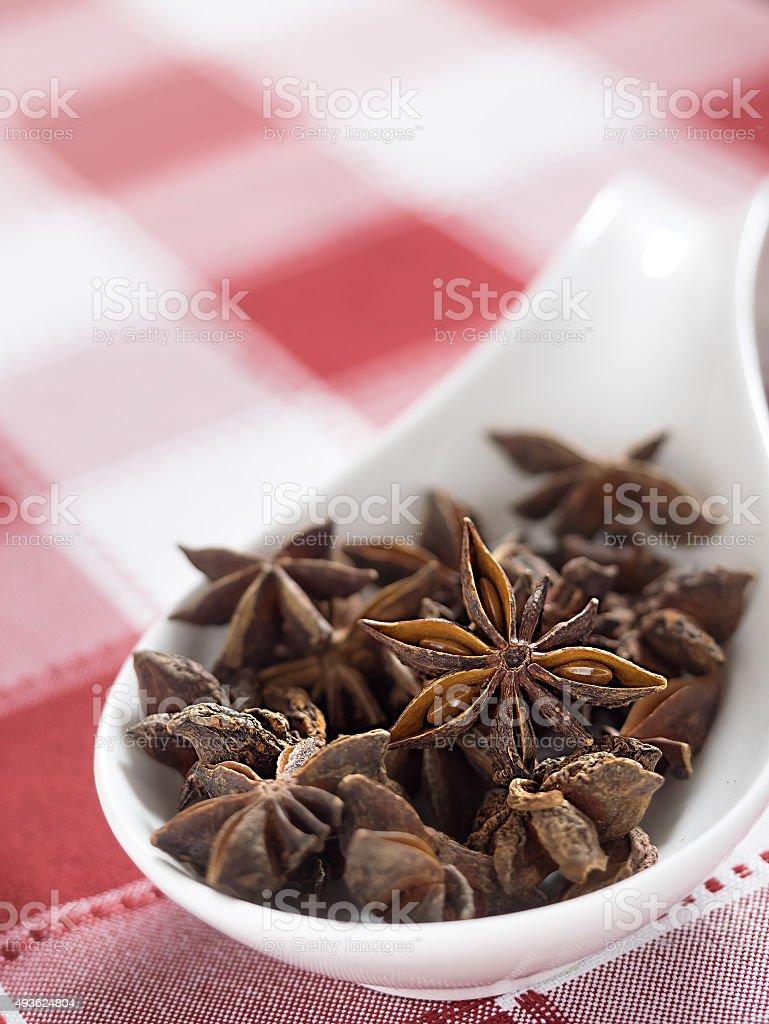 Estrela-de-anis em Toalha de mesa vermelha e branca. Foco seletivo foto royalty-free