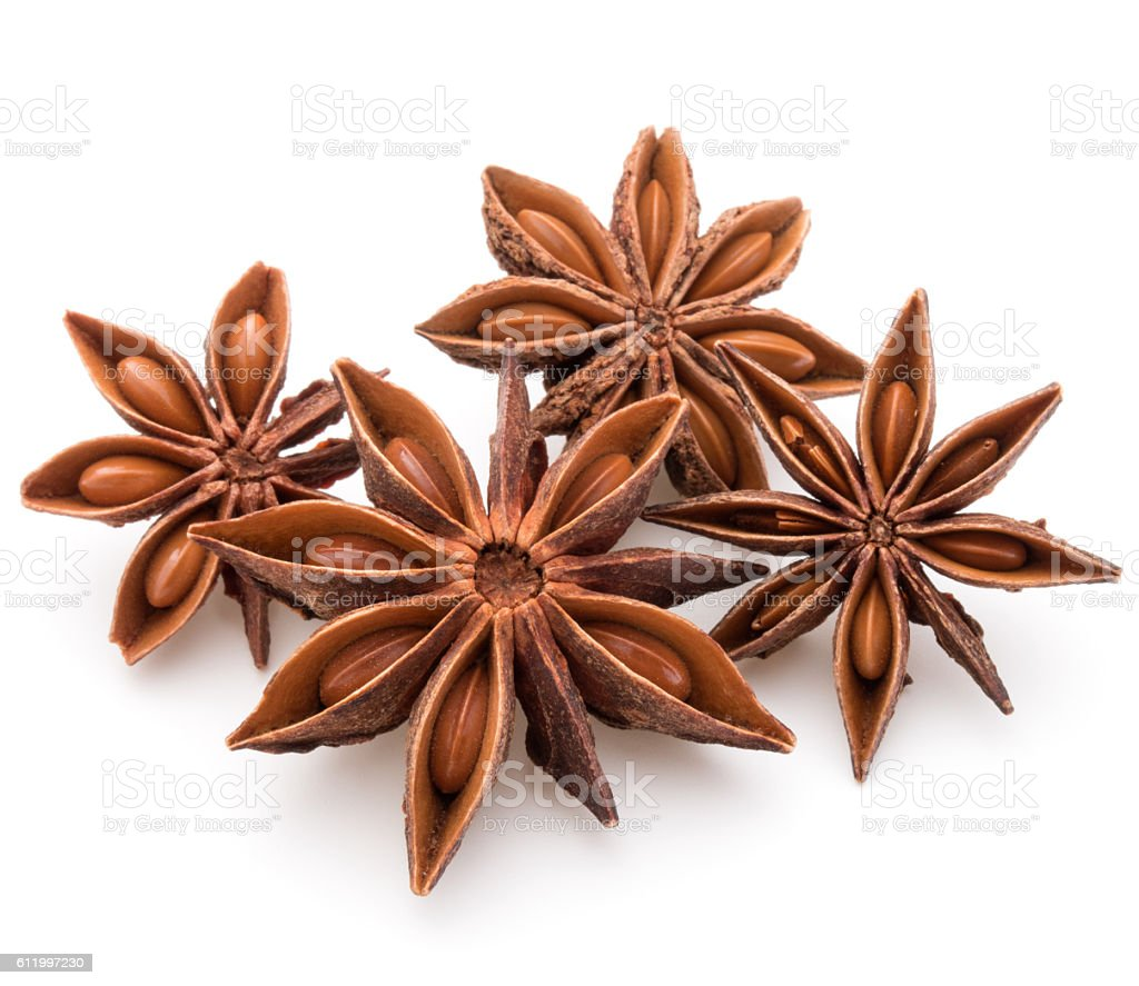 Star anise spice fruits and seeds isolated on white background stock photo