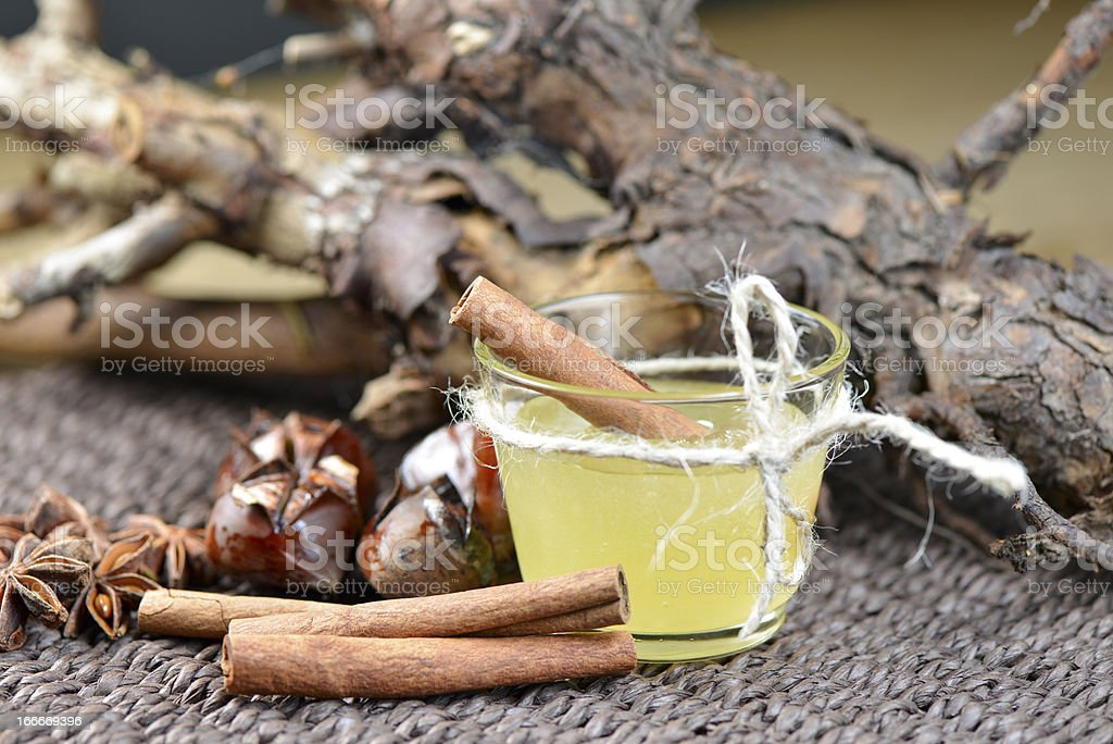 Star anise with cinnamon and honey stock photo