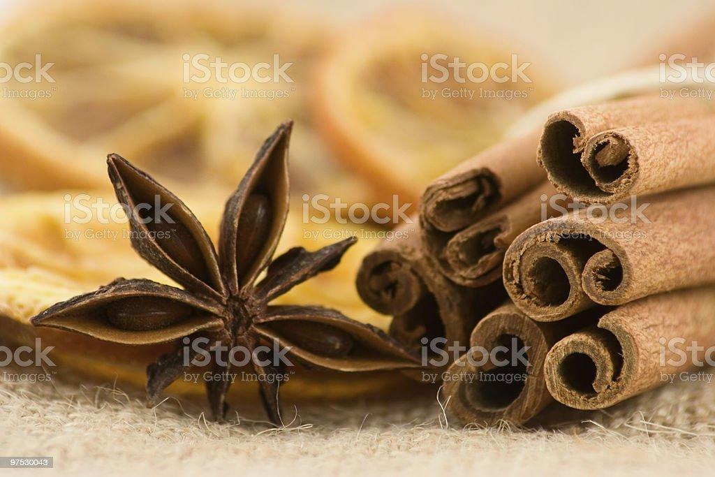Star anise with cinnamon stock photo