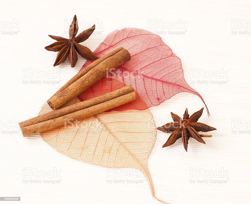Star anise with cinnamon sticks stock photo
