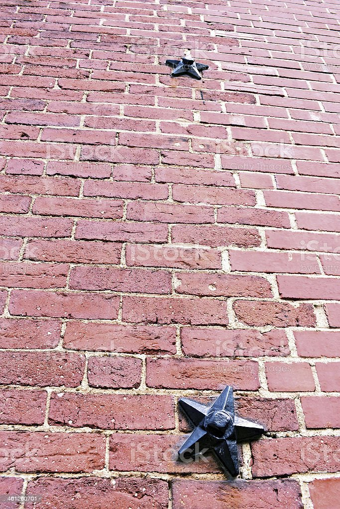 Star Bolts reinforcing a Brick wall in Boston stock photo